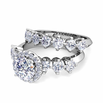 Bridal Set of Crown Set Diamond Engagement Wedding Ring in Platinum