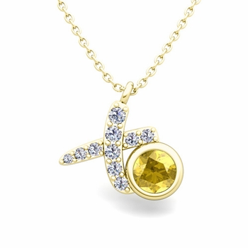 Pave Diamond and Solitaire Yellow Sapphire in 18k Gold XO Pendant