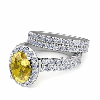 Two Row Diamond and Yellow Sapphire Engagement Ring Bridal Set in Platinum, 9x7mm