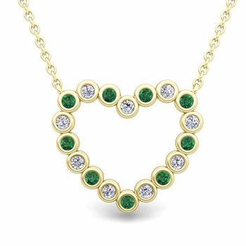 Bezel Diamond and Emerald Heart Necklace in 18k Gold Pendant