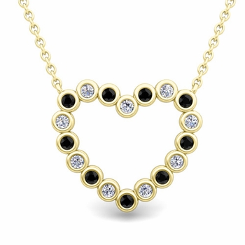 Bezel Black and White Diamond Heart Necklace in 18k Gold Pendant