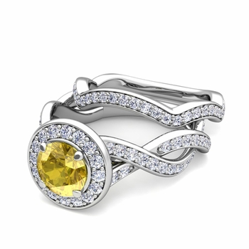 Infinity Diamond and Yellow Sapphire Engagement Ring Bridal Set in Platinum, 7mm