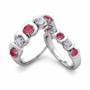 His and Hers Matching Wedding Band in Platinum 5 Stone Diamond and Ruby Ring