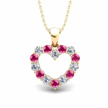 Heart Diamond and Pink Sapphire Necklace in 18k Gold Pendant