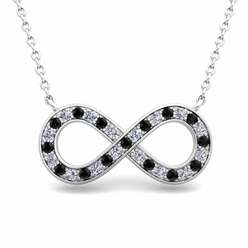 Classic Black and White Diamond Necklace in 14k Gold Infinity Pendant