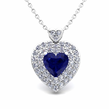 Two Heart Diamond and Sapphire Necklace in 14k Gold Pendant