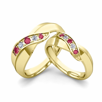 Matching Wedding Band in 18k Gold Infinity Diamond and Ruby Wedding Rings