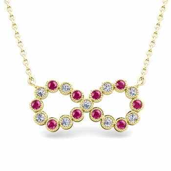 Milgrain Diamond and Pink Sapphire Necklace in 18k Gold Infinity Pendant