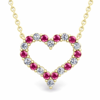 Pave Diamond and Pink Sapphire Heart Necklace in 18k Gold Pendant