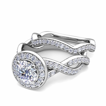 Infinity Diamond Engagement Ring Bridal Set in Platinum