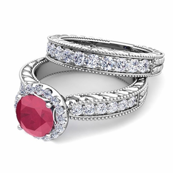 Vintage Inspired Diamond and Ruby Engagement Ring Bridal Set in Platinum, 6mm