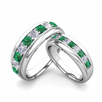 Matching Wedding Band in Platinum Brilliant Diamond and Emerald Wedding Rings