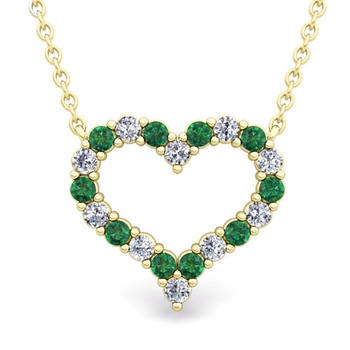 Pave Diamond and Emerald Heart Necklace in 18k Gold Pendant