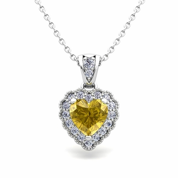 Milgrain Diamond and Yellow Sapphire Heart Necklace in 14k Gold Pendant