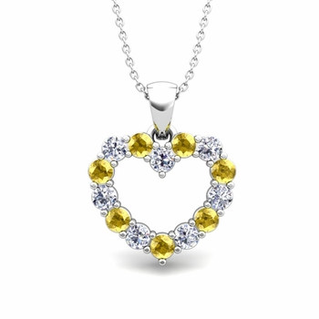 Heart Diamond and Yellow Sapphire Necklace in 14k Gold Pendant