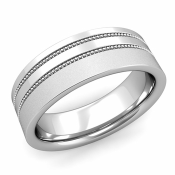 Double Milgrain Wedding Ring in Platinum Comfort Fit Band, Satin Finish, 7mm