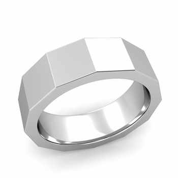 Square Comfort Fit Wedding Ring in Platinum Polished Finish Band, 7mm
