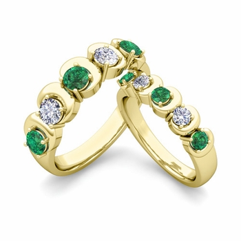 His and Hers Matching Wedding Band in 18k Gold 5 Stone Diamond and Emerald Ring