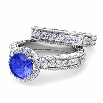 Vintage Inspired Diamond and Ceylon Sapphire Engagement Ring Bridal Set in 14k Gold, 7mm