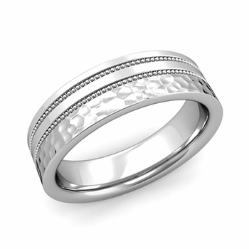 Double Milgrain Wedding Ring in Platinum Comfort Fit Band, Hammered Finish, 6mm
