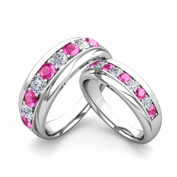 Matching Wedding Band in Platinum Brilliant Diamond Pink Sapphire Wedding Rings