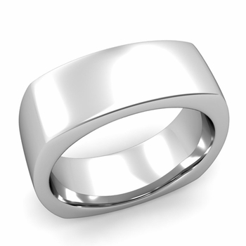 Square Comfort Fit Wedding Ring in Platinum Polished Band, 8mm