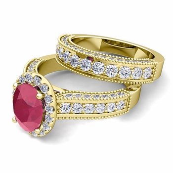 Bridal Set of Heirloom Diamond and Ruby Engagement Wedding Ring in 18k Gold, 9x7mm