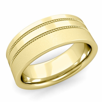 Double Milgrain Wedding Ring in 18k Gold Comfort Fit Band, Satin Finish, 8mm