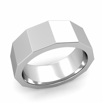 Square Comfort Fit Wedding Ring in Platinum Polished Finish Band, 8mm