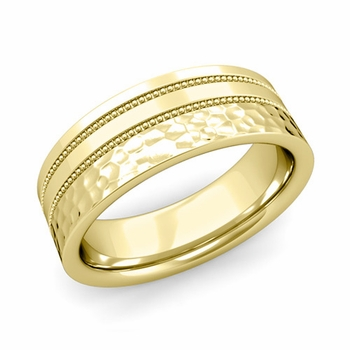 Double Milgrain Wedding Ring in 18k Gold Comfort Fit Band, Hammered Finish, 7mm