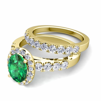 Halo Bridal Set: Pave Diamond and Emerald Wedding Ring Set in 18k Gold, 7x5mm
