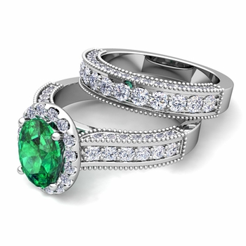 Bridal Set of Heirloom Diamond and Emerald Engagement Wedding Ring in 14k Gold, 7x5mm