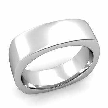 Square Comfort Fit Wedding Ring in Platinum Polished Band, 7mm