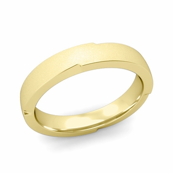 Unique Comfort Fit Wedding Band with Matte Satin Finish in 18k Gold Band, 4mm