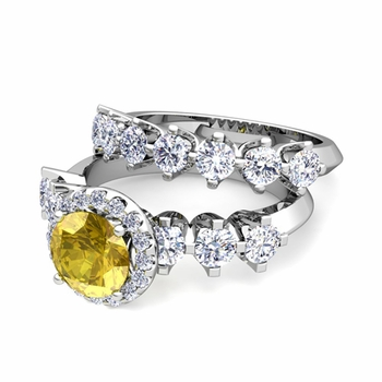 Bridal Set of Crown Set Diamond and Yellow Sapphire Engagement Wedding Ring in 14k Gold, 7mm