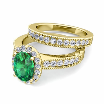 Halo Bridal Set: Milgrain Diamond and Emerald Engagement Wedding Ring Set in 18k Gold, 7x5mm