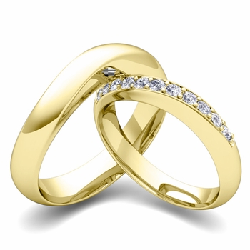 Matching Wedding Band in 18k Gold Curved Diamond Ring