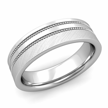 Double Milgrain Wedding Ring in Platinum Comfort Fit Band, Mixed Brushed Finish, 6mm
