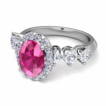 Crown Set Diamond and Pink Sapphire Engagement Ring in 14k Gold, 7x5mm