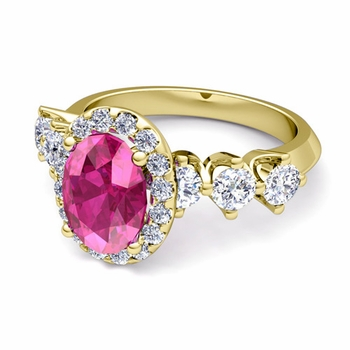 Crown Set Diamond and Pink Sapphire Engagement Ring in 18k Gold, 7x5mm