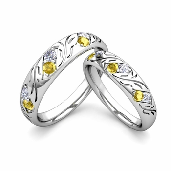 His and Hers Matching Wedding Band in Platinum: Diamond and Yellow Sapphire