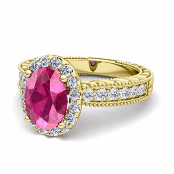 Vintage Inspired Diamond and Pink Sapphire Engagement Ring in 18k Gold, 7x5mm