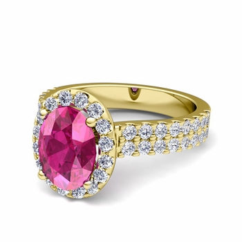 Two Row Diamond and Pink Sapphire Engagement Ring in 18k Gold, 9x7mm