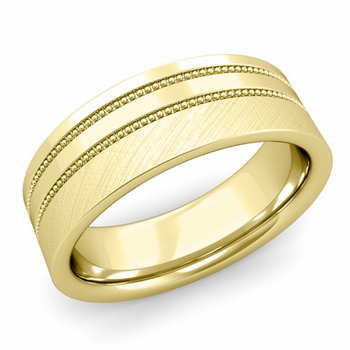 Double Milgrain Wedding Ring in 18k Gold Comfort Fit Band, Mixed Brushed Finish, 7mm