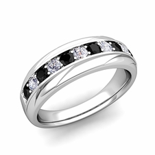 Brilliant Black and White Diamond Wedding Ring Band in 14k Gold, 6mm