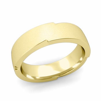 Unique Comfort Fit Wedding Band with Matte Satin Finish in 18k Gold Band, 6mm
