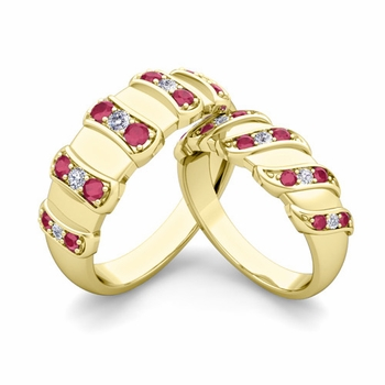 Matching Wedding Band in 18k Gold Twisted Diamond and Ruby Wedding Rings