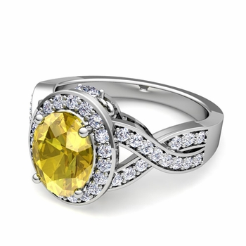 Infinity Diamond and Yellow Sapphire Engagement Ring in 14k Gold, 7x5mm