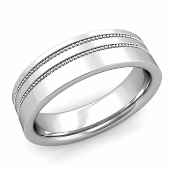 Double Milgrain Wedding Ring in Platinum Comfort Fit Band, Polished Finish, 6mm