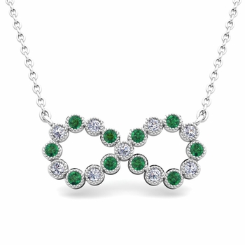 Milgrain Diamond and Emerald Necklace in 14k Gold Infinity Pendant